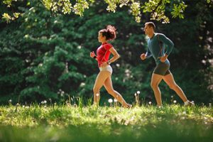 Two runners in countryside